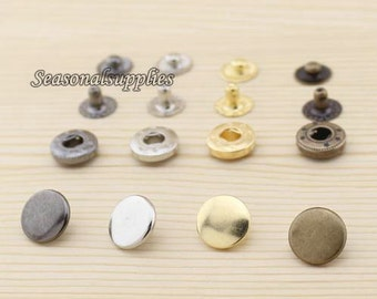Brass Snap Button Set, 12mm Round, Gun black, silver,gold and antique bronze for choice-(10 in a set)(GB20)
