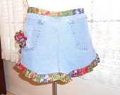 Repurposed bluejean half apron with ruffles and fabric rose