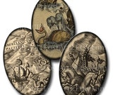 INSTANT DOWNLOAD Vintage Sea Monsters 20x30 mm Ovals Digital Collage Sheet Ancient Maps Awesome for Pendants no. 17