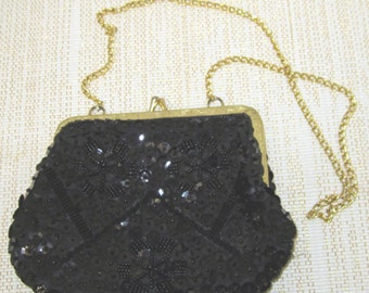 Sequined Black Evening Bag With Gold Chain Vintage Made in Hong Kong c1980