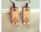 Wooden earrings laser cut trees - eco friendly wood. Dangle earrings made in Australia