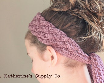 PDF Knitting Pattern - Marbella Cabled Head Wrap Scarf