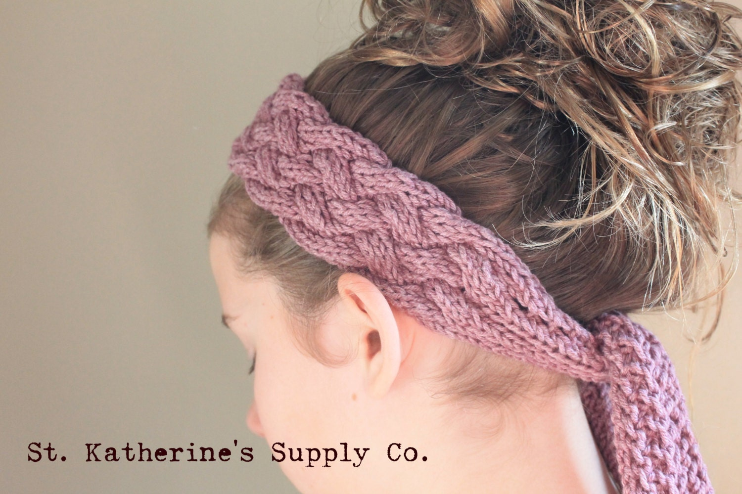 Knitted Head Scarf Pattern : PDF Knitting Pattern Marbella Cabled Head Wrap Scarf