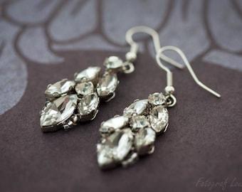 Wedding Earring, Bridal Earrings, wedding crystal drop earring, vintage wedding jewelry, Nanna Earrings