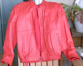 Vintage Red Leather Jacket/Vest Tie by Vera Pelle Made in Italy