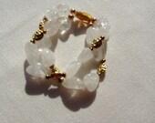 Natural Rock Crystal Quartz & Gold Foiled Glass Stretch Double strand Bracelet