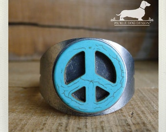 Peace. Cuff Bracelet -- (Turquoise, Blue, Western, Steampunk, Hippie, Antiqued Silver, Funky, Simple, Rustic, Vintage-Style, Gift Under 25)
