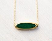 Emerald Necklace, Vintage 24 Karat Gold Necklace, modern necklace, May birthstone - LIMITED RUN