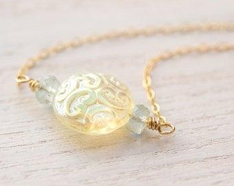 Vintage Aquamarine Necklace, gold necklace, gemstone necklace, March birthstone