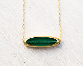 Emerald Necklace, Vintage 24 Karat Gold Necklace, modern necklace, May birthstone - LIMITED RUN