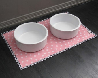 Pink & White Polka Dot Pet Placemat with Gingham Border