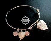 silver flower engraved heart locket ice pink glass beads shell leaf charms fashion women chic wiring bangle bracelet