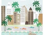 Tampa Florida art print illustration - 11x14 -  city buildings poster wall decor beach palm tree
