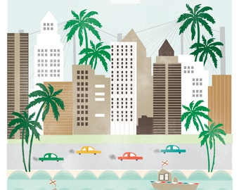 Tampa Florida art print illustration - 11x14 -  city buildings poster wall decor beach palm tree