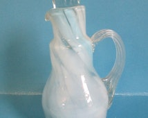 """Art Glass small pitcher Hand blown """"Smith Old Time Hand made Fort Smith Ark"""" imprinted on bottom"""