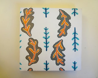 5x5 Leaf Pattern- Scandinavian Inspired Original Painting