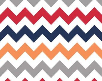 SALE | Chevron Fabric in Gray, Red, Blue, Orange by Riley Blake - 1/2 Yard
