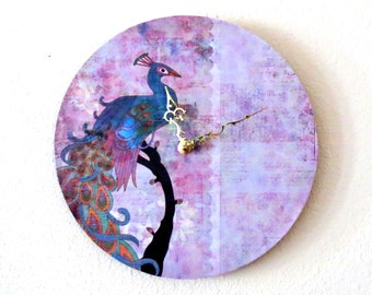 Wall Clock, Peacock Wall Art, Home and Living, Living Room Decor,  Purple Clock, Decor & Housewares