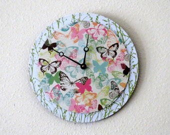 Unique Wall Clock,  Butterflies, Decor and Housewares, Recycled Art, Green Decor, Home and Living, Home Decor