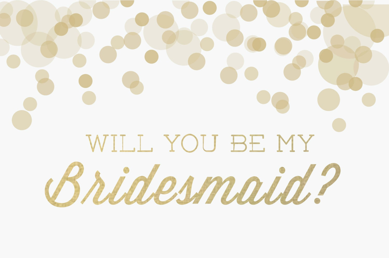 Will You Be My Bridesmaid Invitation: Gold Glitz By