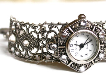 Silver Women Watch Filigree Bracelet Watch for Women Ladies Watch Vintage Style Watch Unique Women Watches Victorian Watches Gothic Jewelry