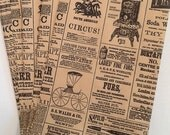 "Set of  25 Newspaper Print Kraft Bags Newsprint Vintage Style 6 1/4"" x 9 1/4"" .....  Many Uses"
