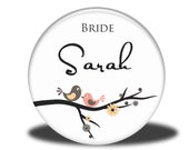 PERSONALIZED Bride Gift - Mirror, Magnet, Bottle Opener or Pin - Birds on a Branch