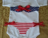 Patriotic 4th of July  Bikini Onesie Hairbow and Headband Outfit Size 3, 6, 12 , 18  months