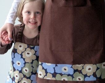 Woman's Apron, Option for Matching Apron Set, Soft Chocolate Brown Twill and Marimekko Detailing