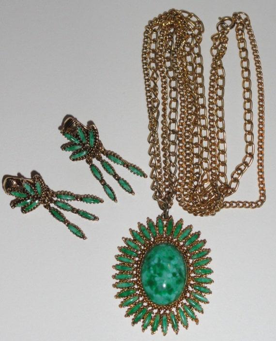 CELEBRITY Designer Signed Vintage Faux Green Jade Pendant Necklace & Earrings Demi Parure Set
