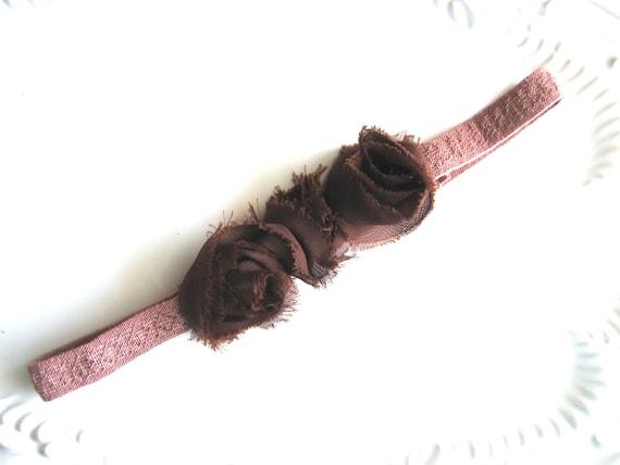 Floral Headband Elastic Brown Rosette Flower Headband