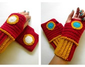 Original Iron Man Inspired Geeky Gauntlets. Wristwarmers. Superhero Fingerless Gloves. Super Hero Series. Crochet Avengers Marvel Cosplay.