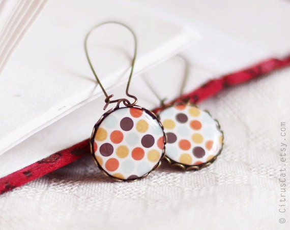 Retro polka dots earrings - vintage style jewelry - retro jewelry