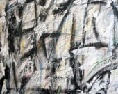 The Shaker Woods, 1-24-13  (abstract painting, black, pastel, white, ivory, cream, gray)