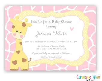 Baby shower girl or boy giraffe yellow and blue  printable invitation