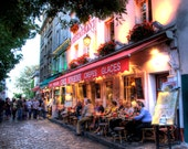 PARIS FRANCE CAFE Night Street French Style Outdoor Cafe Montmarte Paris France Photo Print