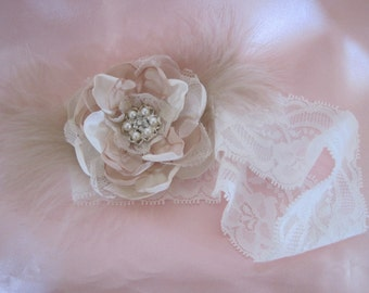 Ivory and Champagne Flower and Feathers Romantic Rose Bridal Garter with Pearl and Rhinestone Accent Custom Order
