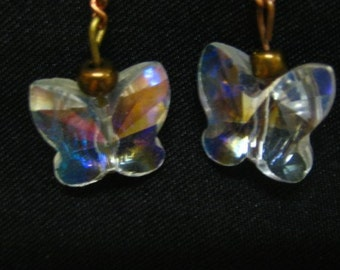 Swarovsky cut Butterfly Crystal mixed metal Copper, bronze dainty and rustic Pearl Earrings