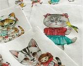 Cotton Linen Fabric Cloth -DIY Cloth Art Manual Cloth-Cute Cat 55x16Inches