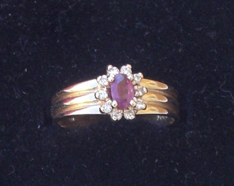 Ring - Ruby and Diamond Ring - 10K Gold - July Birthday Gift - Vintage