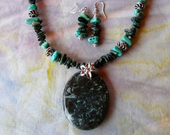 21 Inch Black and Turquoise Jasper Pendant Necklace with Earrings