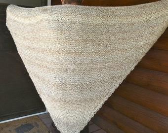 Cream and Beige Super Soft Acrylic Triangle Shawl