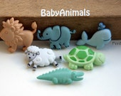 Button set with 6 Babyanimals kidsbuttons 11-33mm