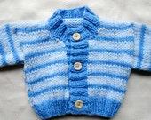 Baby boy newborn sweater, blue and light blue, hand knit