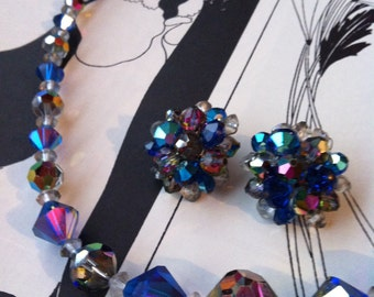 Vintage Silver Tone Blue AB Crystal Beaded Necklace & Earrings Set SALE