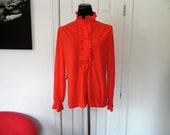 Vintage 1970s-1980s Red Victorian Revival Long Sleeve Blouse