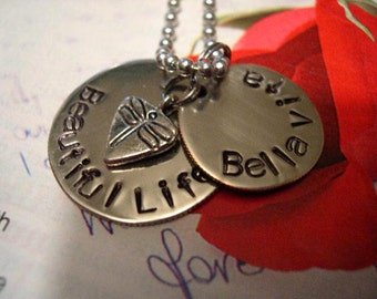Stamped Metal Jewelry, Hand Stamped Metal, Necklace, Bella Vita - N28