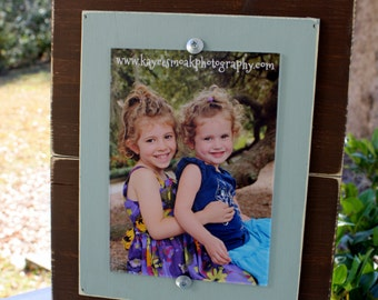 Distressed Rustic Frame, Brown 5x7 Picture Frame, Distressed Picture Frame, Seafoam