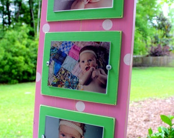 Triple 5x7 Frame, Distressed Picture Frame, Polka Dot Picture Frame, Baby Girl Decor, Pink Frames