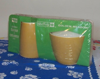Harvest Gold Creamer and Sugar Vintage New In Package Yellow and White Mid Century